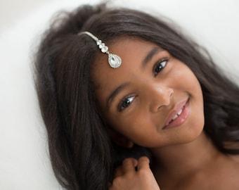 Tikka Maang forehead jewelry diamond crystal head chain boho grecian hair accessory birthday party graduation head piece child head chain