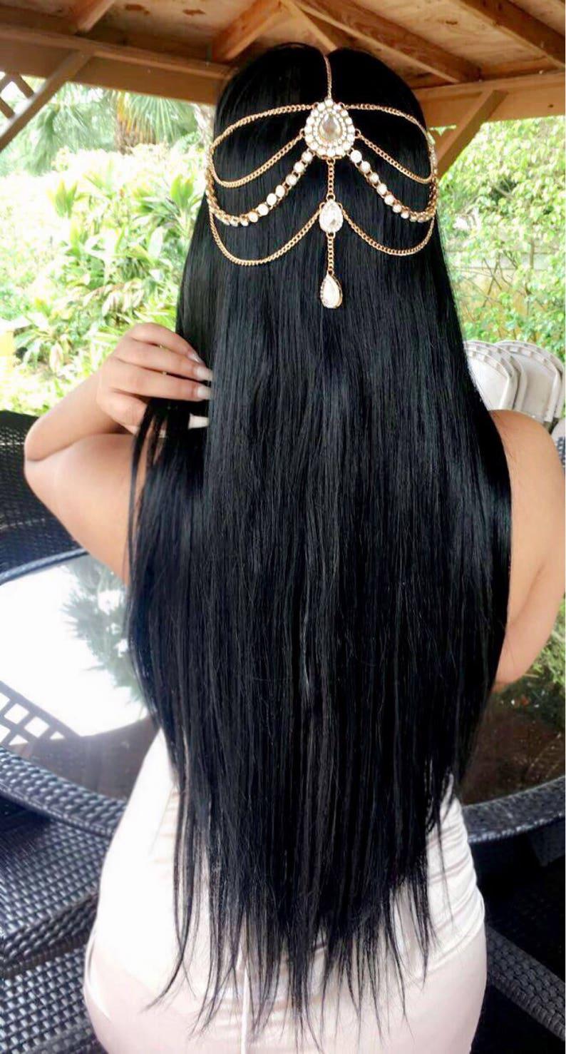 GODDESS Silver Gold Rhinestone Wedding Bridal Prom Bohemian Boho Grecian Head Chain Hair Jewelry Head Piece Bollywood Bride Glam