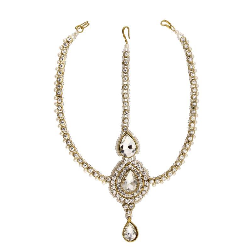 Clear Gold Diamond Pearl Matha Patti Wedding Bridal Goddess Bohemian Boho Grecian Head Chain Hair Jewelry Head Piece Bollywood Wedding