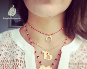 Red Necklace Trio. Red Necklaces.
