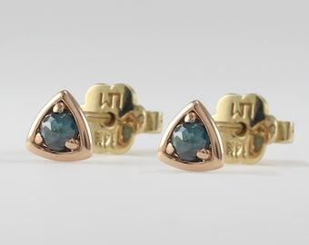 Blue Diamond Triangle Stud Earrings, Gold Stud Earrings, Minimalist Earrings, Geometric Earrings, Triangle Stud Earrings