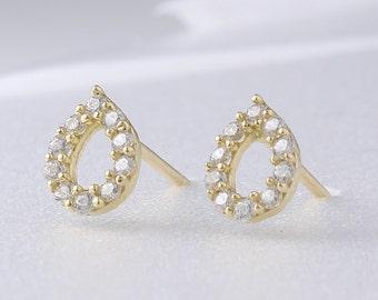 14K Solid Gold Dot Teardrop Stud Earrings, 14K Small Studs, 14K Minimalist Earrings, 14K Circle Studs, Minimalist Earrings, 14K Simple Studs