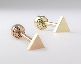 14K Solid Gold Triangle Stud, Cartilage, Tragus, Helix, Conch, Lobe, Piercing Earring, Minimalist Earring, Geometric Earring
