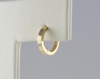 14k Solid Yellow Gold Baby Huggy Huggies Earrings Hoops 2.5 X 9mm {Small}
