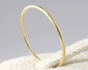 14K Solid Gold Thin Stacking Ring, 14K Solid Gold Thin Band, 14K Gold Minimalist Ring, 14K Gold Simple Ring, 14K Gold Geometric Ring