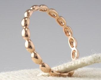 14K Solid Gold Dot Ring, 14K Gold Stacking Ring, 14K Gold Thin Ring, 14K gold Dotted Ring, 14K Gold Stackable Ring