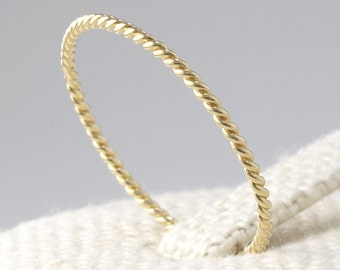 14K Solid Gold Twisted Ring, 14K Gold Stacking Ring, 14K Gold Thin Ring, 14K Gold Twist Ring, 14K Gold Stackable Ring, Minimalist Ring