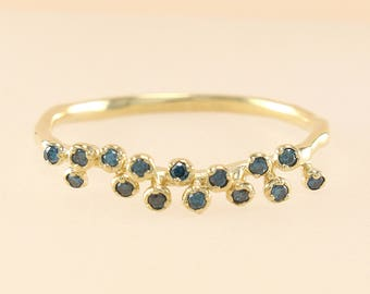 Blue Diamond Ring, 14K Gold Thin Diamond Wedding Band, Diamond Eternity Band, Diamond Band, Engagement Ring, Stackable Ring
