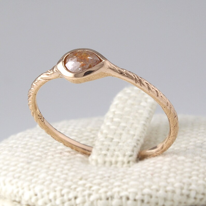 Solid 14K Gold Stacking Ring, 14K Gold Thin Diamond  Engagement Ring Simple Diamond Ring Wedding Band Engagement Ring
