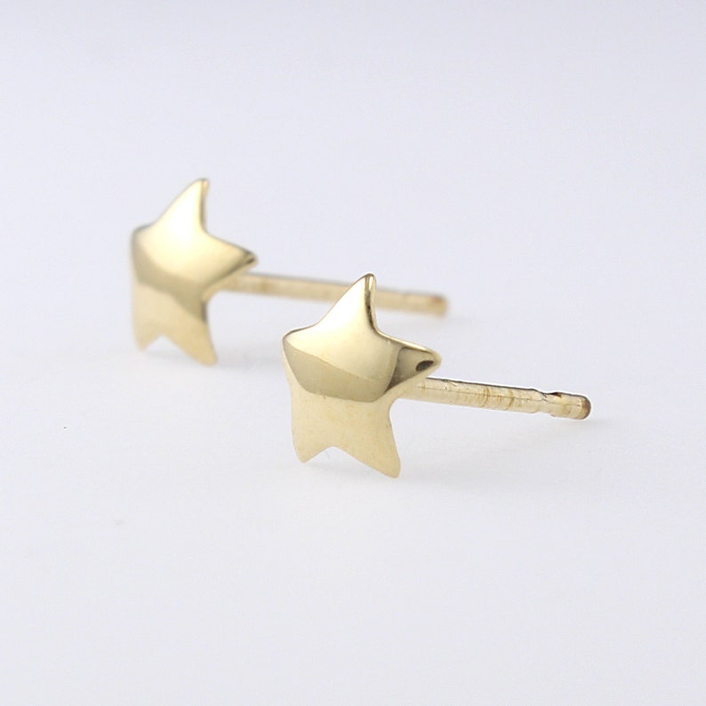 064acd725 14K Solid Gold Star Studs Earrings Tiny Star Studs Star | Etsy
