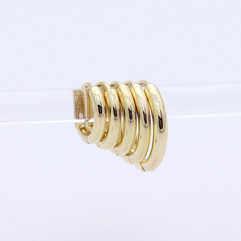 14K Solid Gold Huggie Hinged Hoop Earring Huggie Hoop Gold image 0