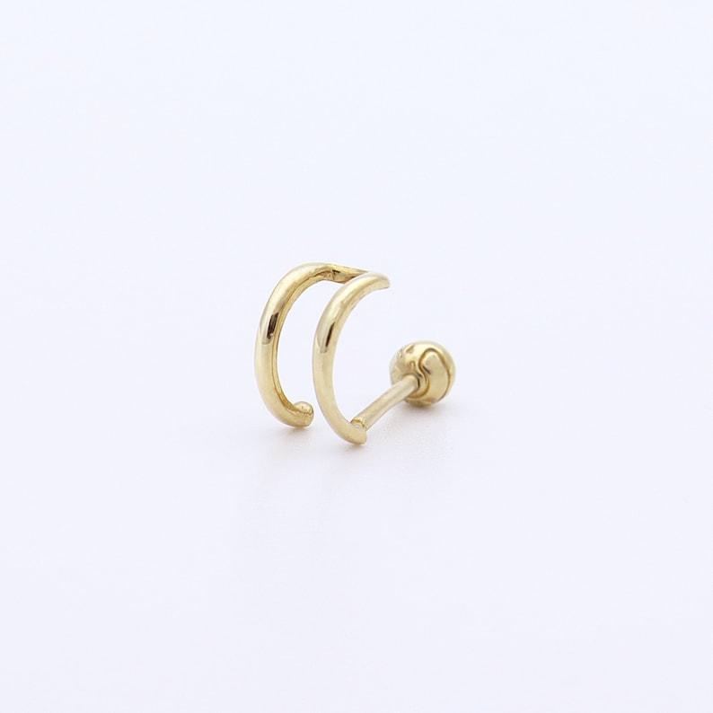 14K Gold Double Wire Ear Cuff Earring 14K Gold Ear Cuff image 0