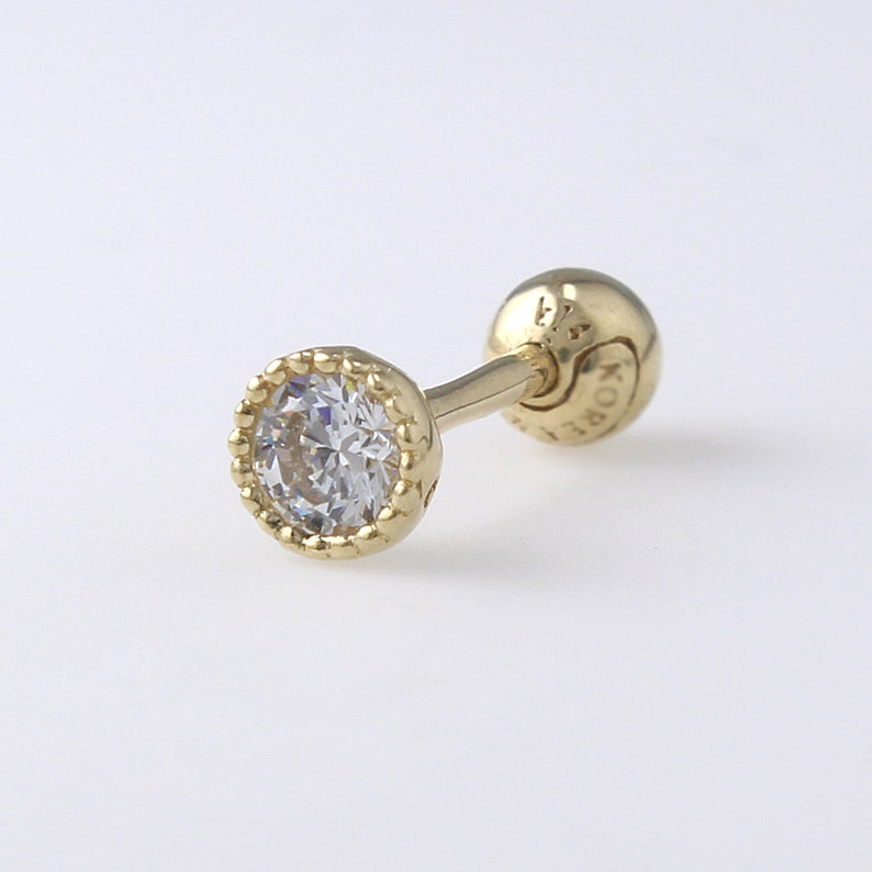 14K 3mm Solid Gold CZ Stud Helix Piercing Earrings Minimalist Earring Conch Tragus Birthstone Stud Geometric Earring Cartilage Lobe