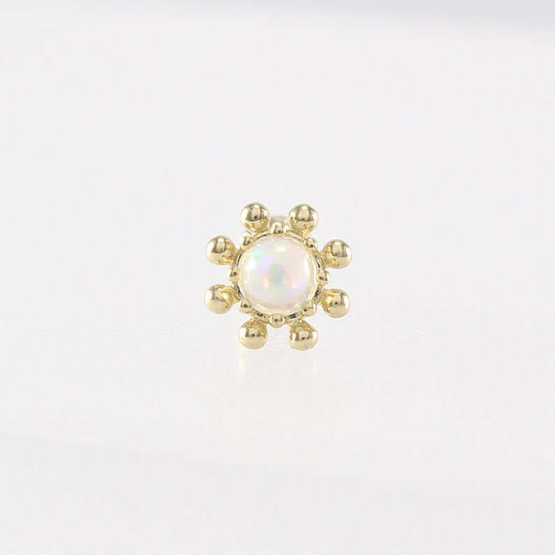 14K 3mm Gold Opal Flower Stud Cartilage Tragus Helix image 0