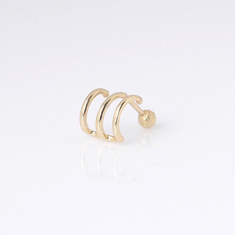 14K Gold Triple Wire Ear Cuff Earring 14K Gold Ear Cuff image 0