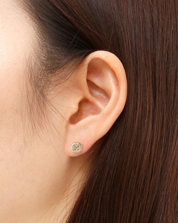 Champagne Diamond Diamonds Earrings Minimalist Earrings Simple Diamond Studs Earrings 14k Gold Geometric Earrings Small Stud Earrings