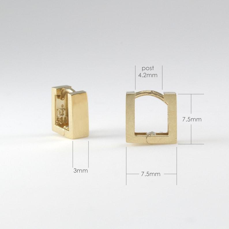 Small Gold Hoop 14K Solid Gold Large Square Huggie Hinged Hoop Earring EF2125-2 Gold Huggie Cartilage Square Huggie Hoop