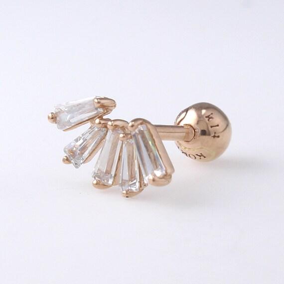 14K 3mm Solid Gold CZ Stud Cartilage Geometric Earring Minimalist Earring Tragus Lobe Piercing Earring Helix Conch