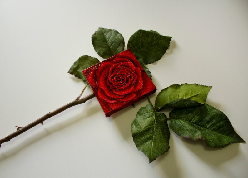 Valentine's Day Rose Painting. Hand-Made Unique Oil Paint image 0