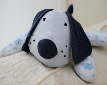 Keepsake memory bear. Handmade dog soft toy, made with your own baby clothes or choice of cotton fabric.