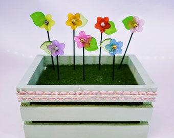 Miniature Beadwork Flowers, Miniature Garden Flowers, Fairy Garden Flowers, Glass Bead Flowers, Dollhouse Flowers, Miniature flowers