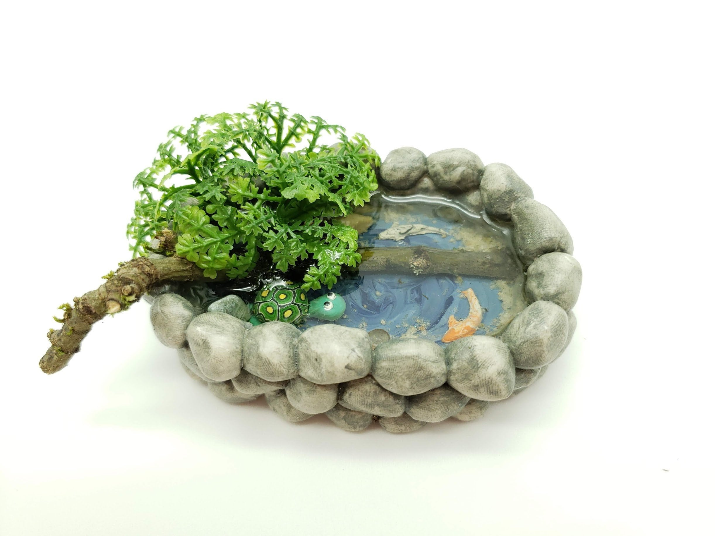 Miniature Dollhouse FAIRY GARDEN ~ Small Pond with Turtle ~ NEW