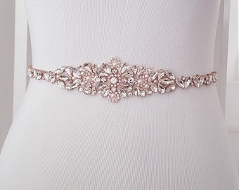 Gold Wedding Sash Belt Crystal Rhinestone Belt Style 159 Wedding Dress Sash Sash Belt Rose Gold Bridal Belt
