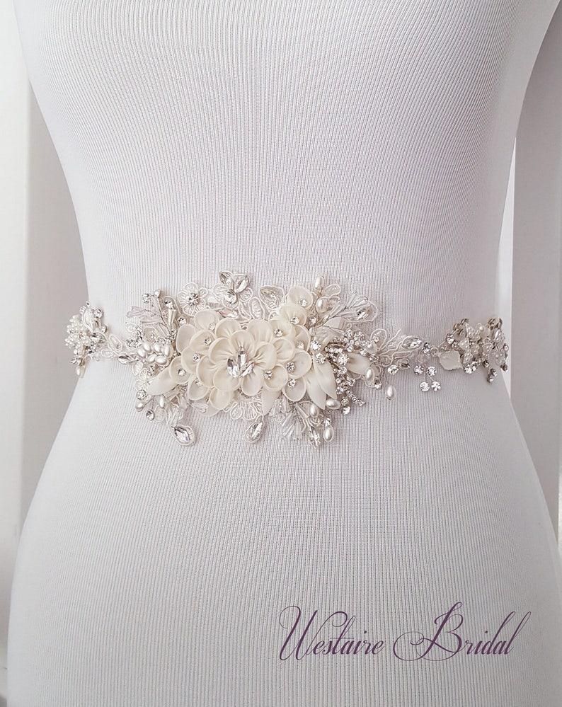 Floral Wedding Sash Bridal Belt Custom Wedding Belts and image 0