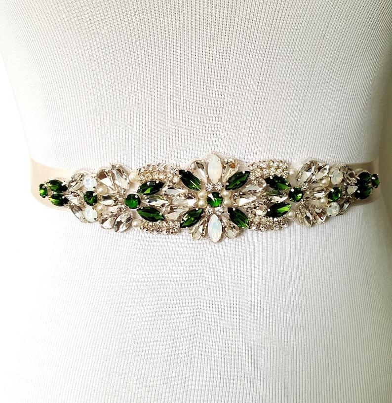Sale Emerald Green Bridal Sash Green Bridal Belt Bridesmaid Etsy