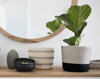 Cylinder Shaped Coiled Rope Basket / Bathroom Storage / Planter