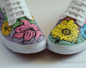 ed15a4cf7a Custom Pastel Vans Flowers Shoes Handpainted Floral Sneakers Flowers Canvas  Shoes Gift for Her Shoes Womens gift