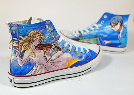 Custom Hand Painted Converse Manga Sneakers Music Lovers Shoes  81e3582f2