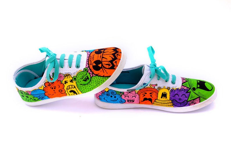 d649d73b97 Freaky Monsters Sneakers Kids Vans Painted Vans Shoes Girls