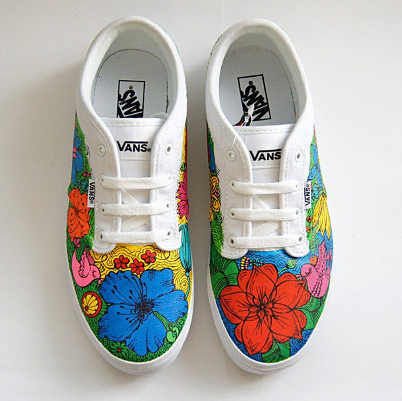 169094a3e4 Floral custom Vans shoes colorful flowers sneakers hand