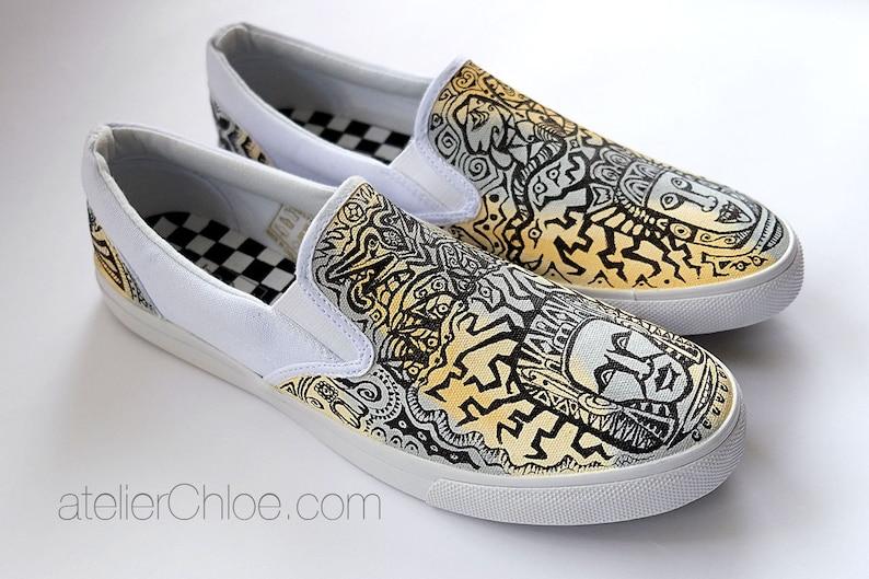 39858c5e99 Custom Vans shoes Painted Tribal Vans Custom Aztec Shoes