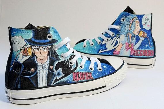 Anime Chaussures Etsy Baskets De Manga Rqrfwox Peint Converse rCeQdWxBo