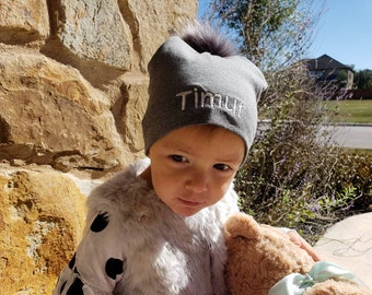 adf5bab9a43 Personalized Embroidered Baby beanie hat with faux fur pompom. Baby girl