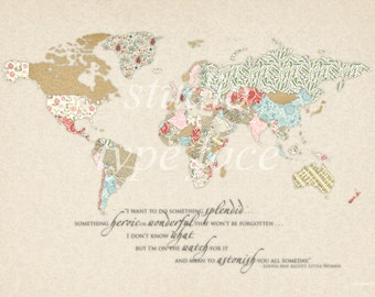 World map prints etsy studio world map print little women quote pink neutral pattern papers gumiabroncs Image collections