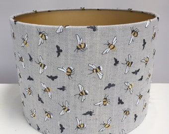 Grey Bumble Bee Embroidered Linen Fabric Lampshade with Gold Lining