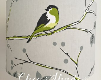 Green Grey Bird Fabric Lampshade