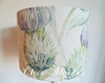 Country Purple Thistle Linen Fabric Lampshade
