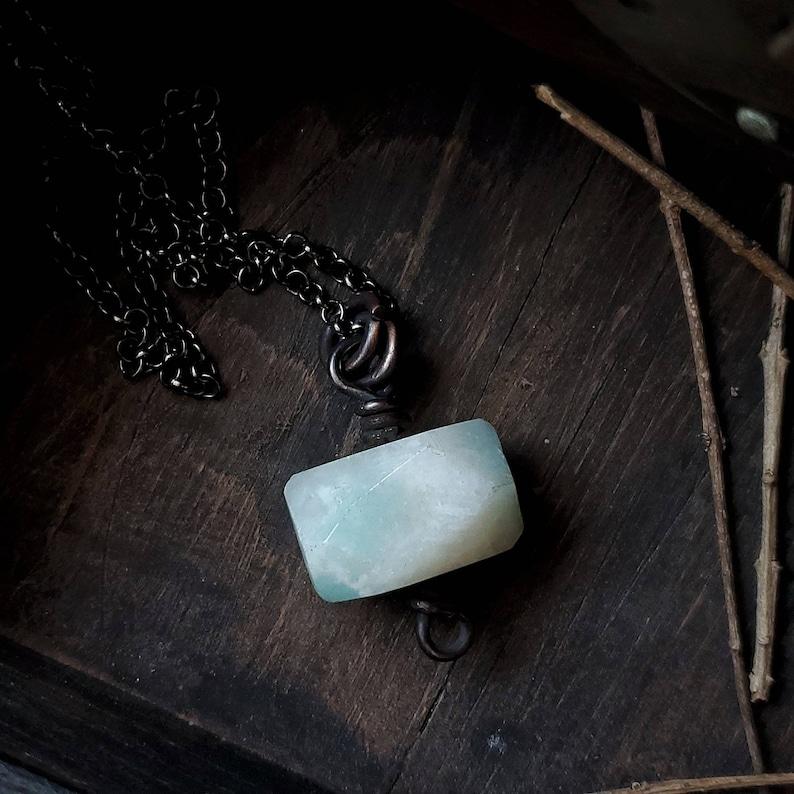 Faceted Amazonite Pendant  Rustic Copper Gemstone Necklace Earthy Stone Pendant  Amazonite Stone Necklace  Rustic Amazonite Pendant