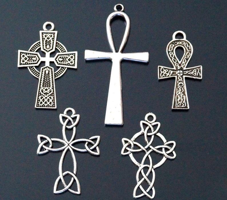 10 Tibetan Silver Ankh Cross Charms Pendant Celtic