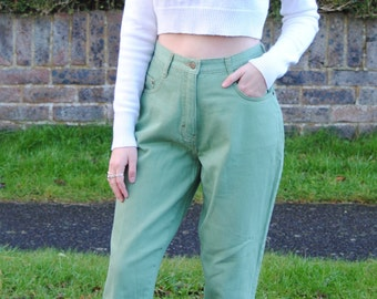 90s Vintage Apple Green High Waisted Mom Jeans