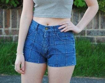 90s does 70s Vintage Patchwork Denim High Waisted Shorts