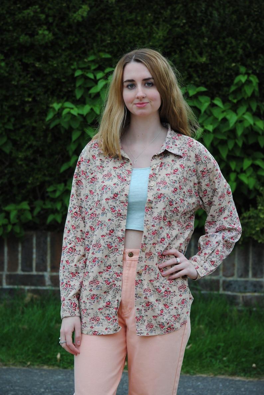 1e3ca468440 90s Vintage Floral Corduroy Shirt Jacket