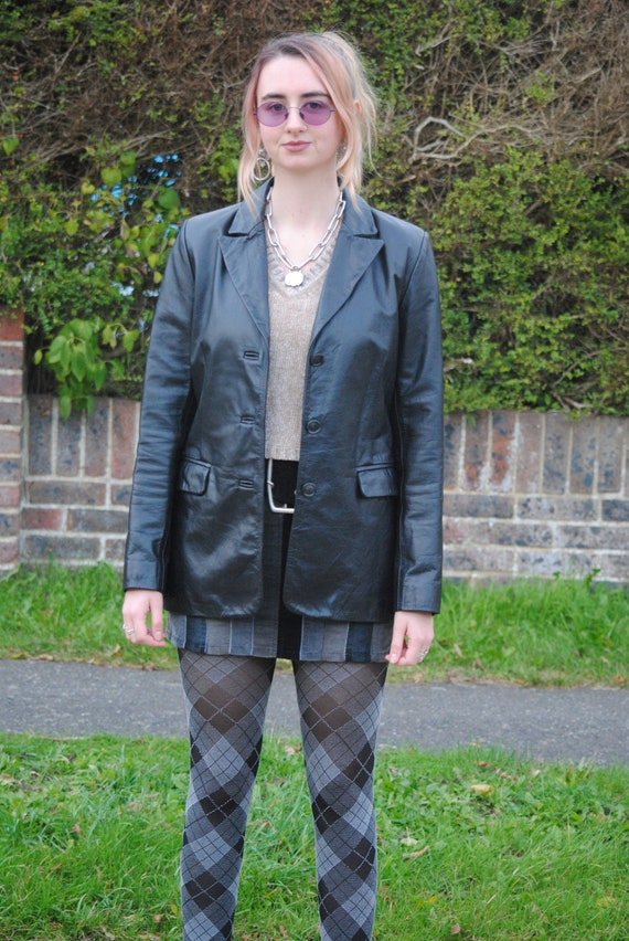 90s Vintage Black Leather Blazer Jacket