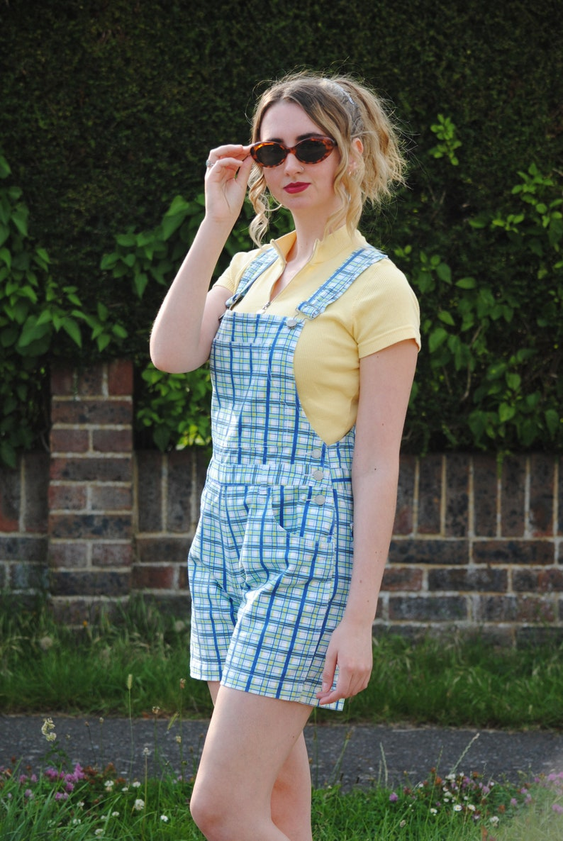 Y2K90s Vintage Checked Dungarees Shorts Overalls