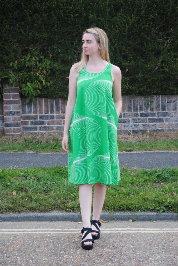 70s Vintage Green Smock/Swing Dress