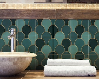 """PS00262 """"Decò in verde"""" Pvc stickers for bathroom and kitchen tiles Decorations for ceramic various sizes"""